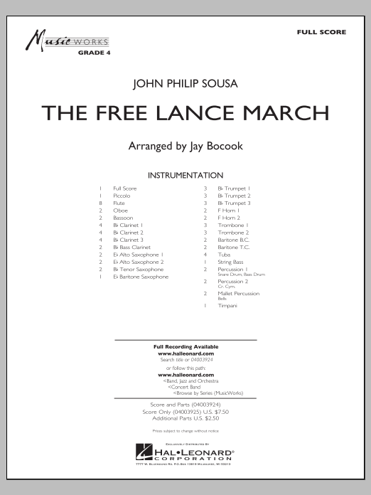 The Free Lance March (COMPLETE) sheet music for concert band by Jay Bocook and John Philip Sousa. Score Image Preview.