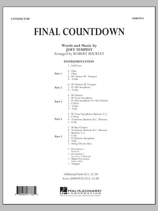 Final Countdown (COMPLETE) sheet music for concert band by Robert Buckley, Europe and Joey Tempest. Score Image Preview.