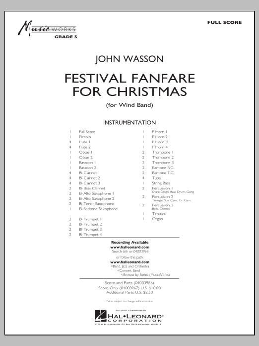 Festival Fanfare for Christmas (for Wind Band) (COMPLETE) sheet music for concert band by John Wasson. Score Image Preview.