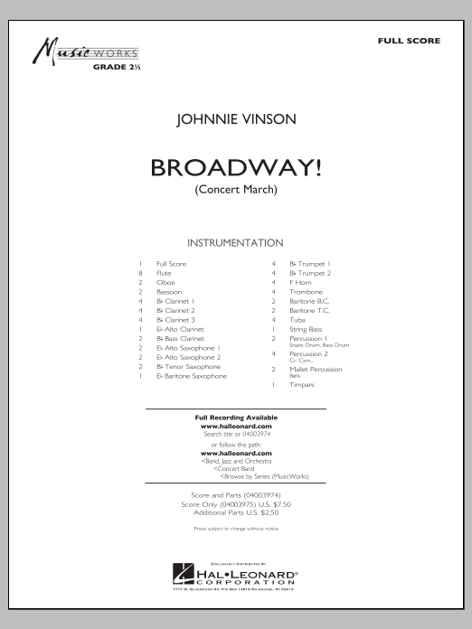 Broadway! (COMPLETE) sheet music for concert band by Johnnie Vinson. Score Image Preview.