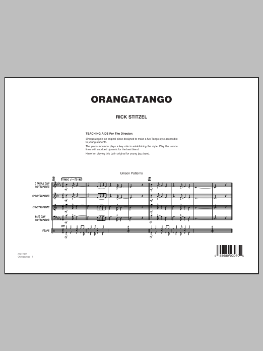 Orangatango (COMPLETE) sheet music for jazz band by Rick Stitzel. Score Image Preview.