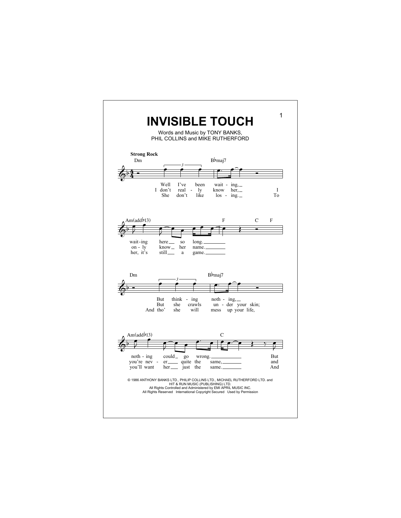 Invisible Touch Sheet Music