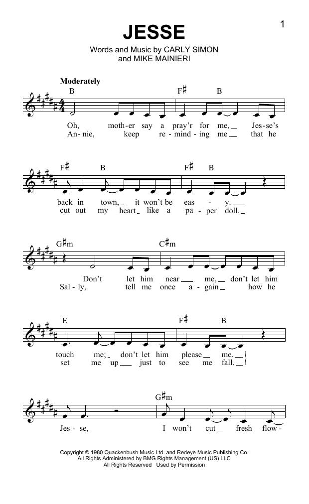 Jesse Sheet Music