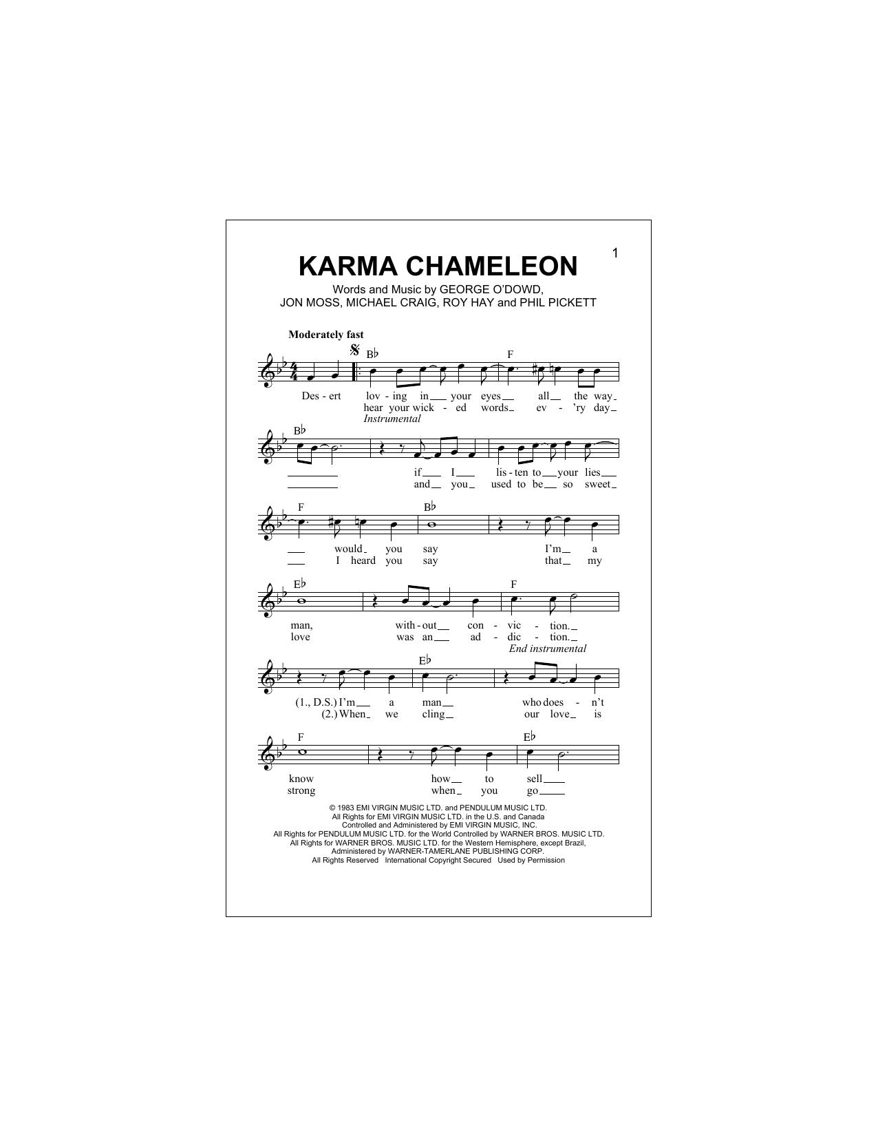 Karma Chameleon Sheet Music   Culture Club   Lead Sheet / Fake Book