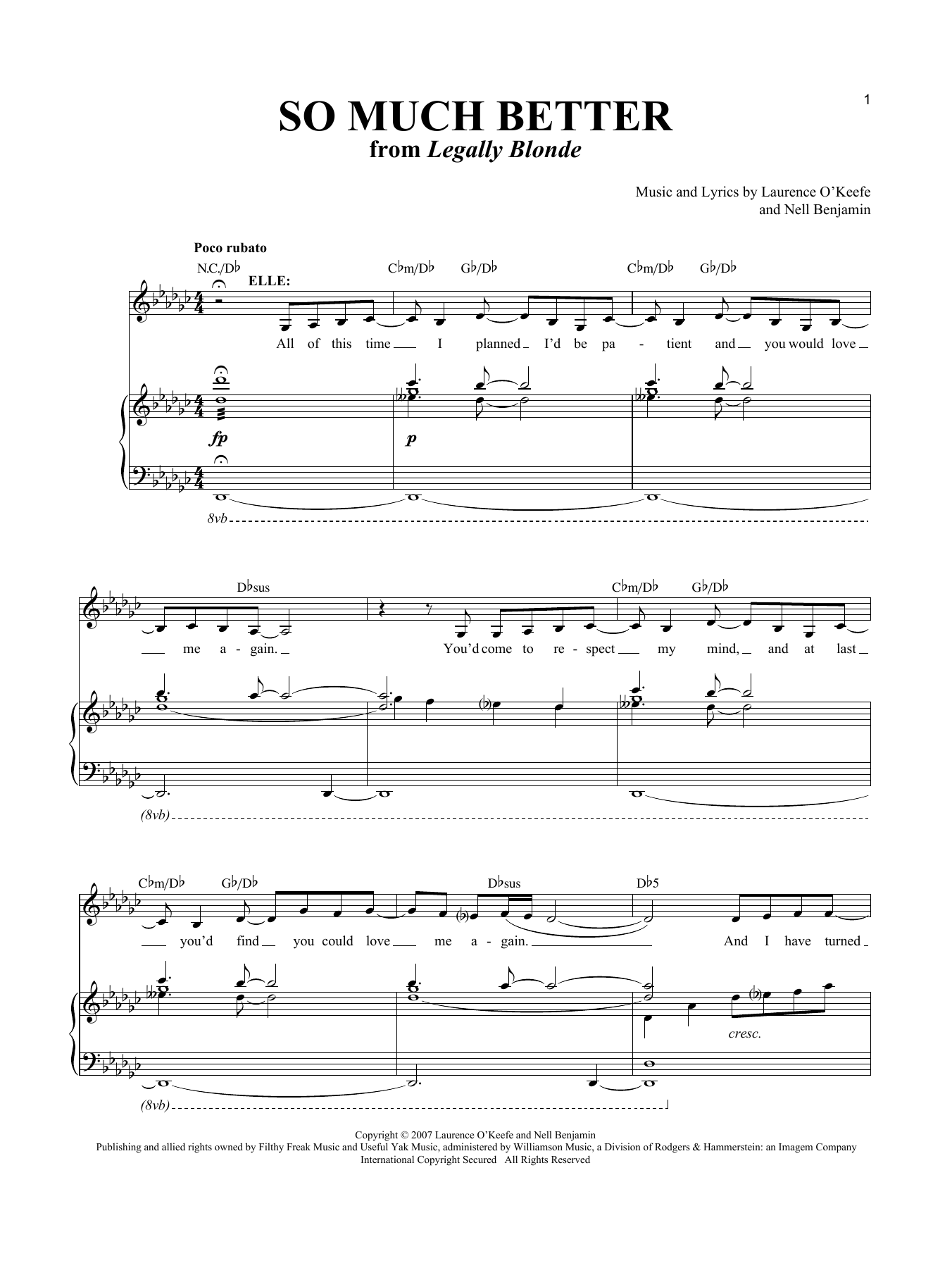 Partition piano So Much Better de Laurence O'Keefe - Piano Voix