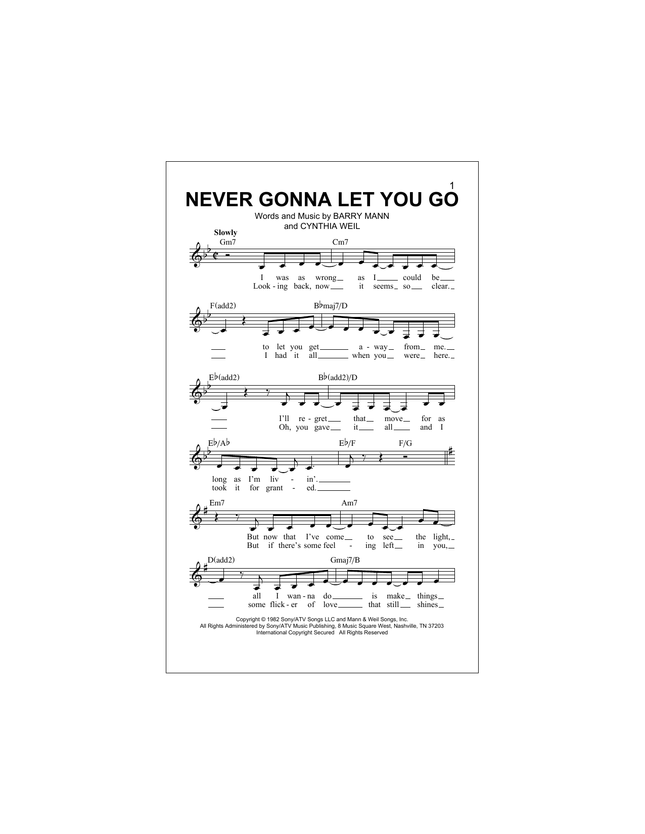 Never Gonna Let You Go Sheet Music