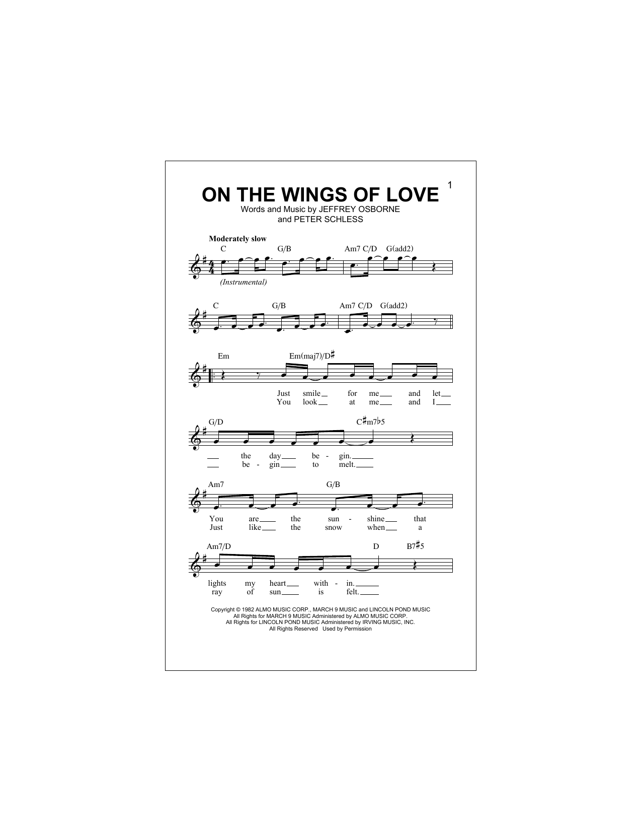 On The Wings Of Love Sheet Music
