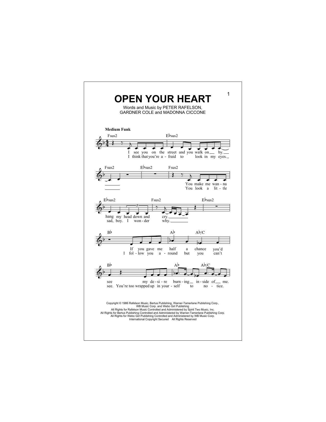 Open Your Heart (Lead Sheet / Fake Book)