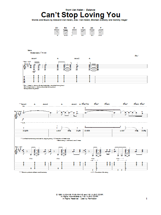 Tablature guitare Can't Stop Loving You de Van Halen - Tablature Guitare