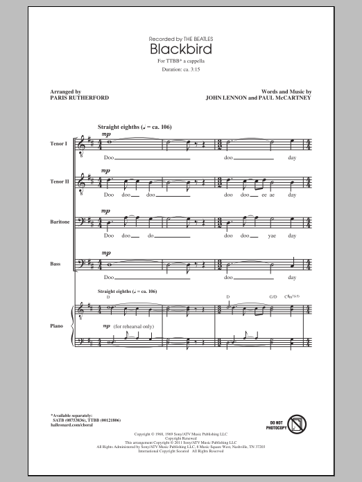 Blackbird (arr. Paris Rutherford) Sheet Music