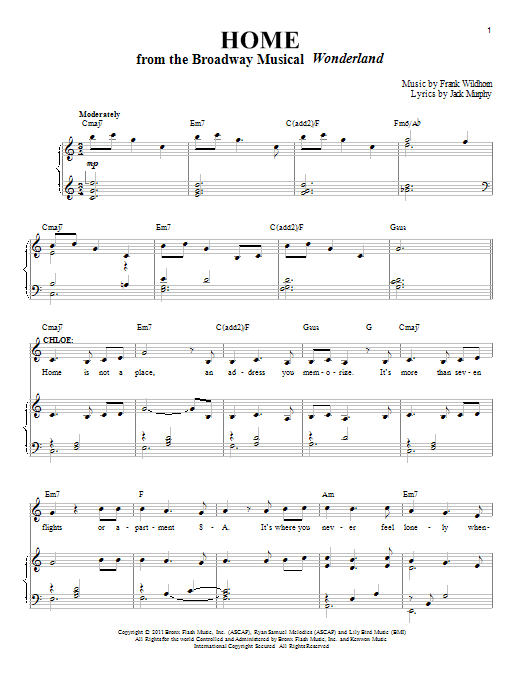 Home (from Wonderland The Musical) Sheet Music