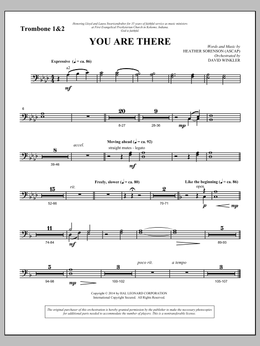 You Are There - Trombone 1 & 2 (Choir Instrumental Pak)