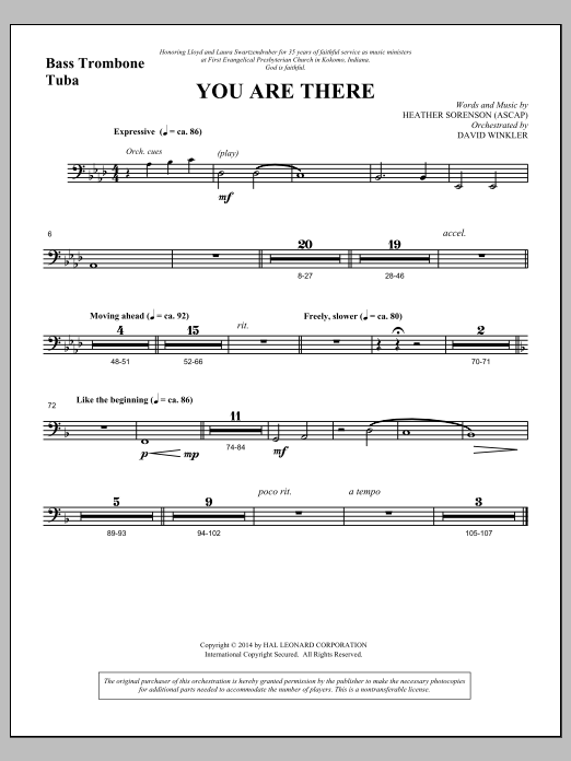 You Are There - Bass Trombone/Tuba (Choir Instrumental Pak)