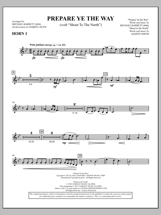 "Prepare Ye The Way (with ""Shout To The North"") - F Horn 1 Sheet Music"