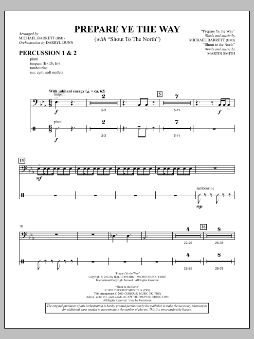 """Prepare Ye The Way (with """"Shout To The North"""") - Percussion 1 & 2 Sheet Music"""