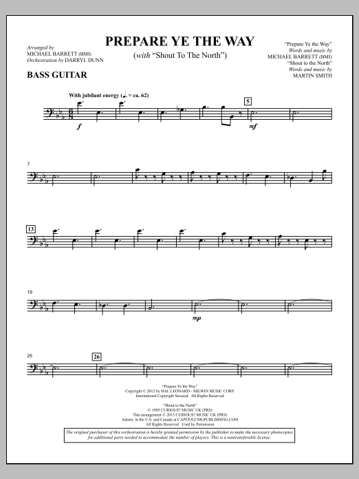 """Prepare Ye The Way (with """"Shout To The North"""") - Bass Guitar Sheet Music"""