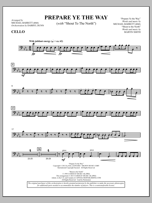 """Prepare Ye The Way (with """"Shout To The North"""") - Cello Sheet Music"""