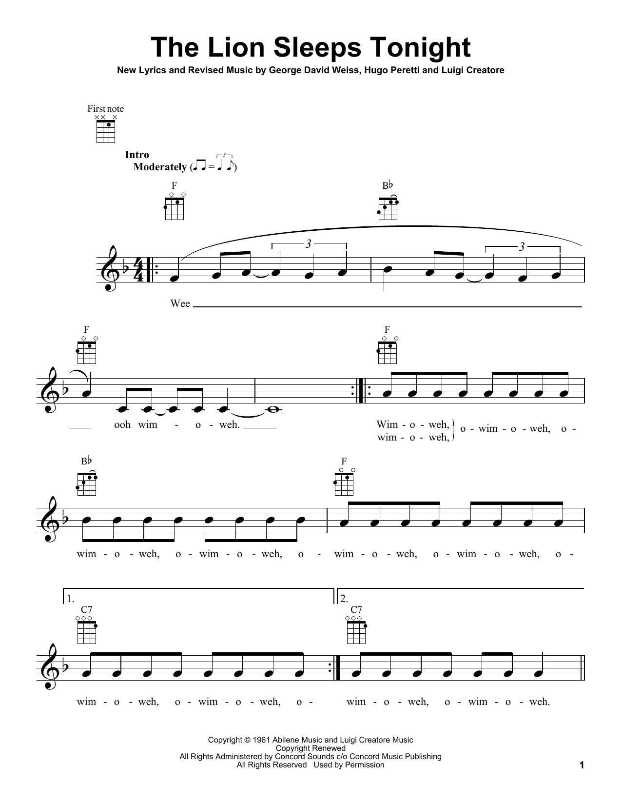 Tablature guitare The Lion Sleeps Tonight de The Tokens - Ukulele