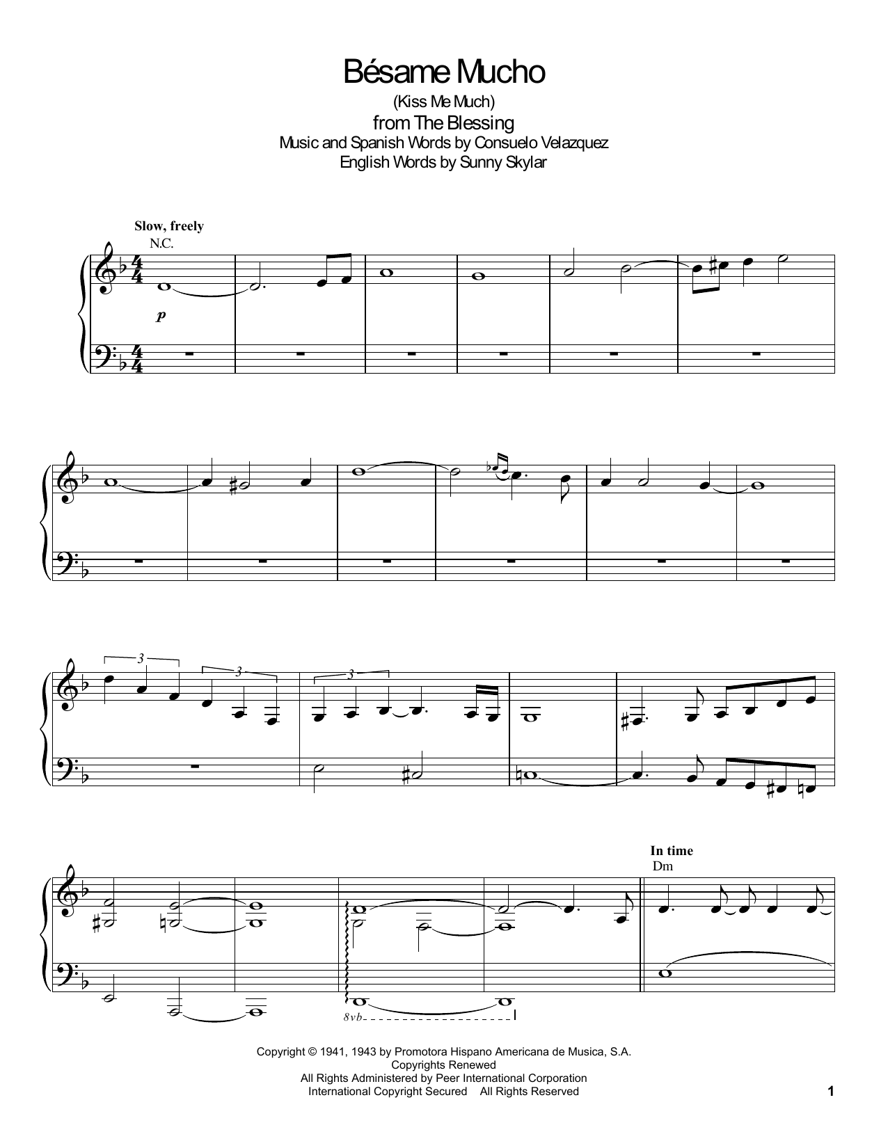 Bésame Mucho (Kiss Me Much) Sheet Music