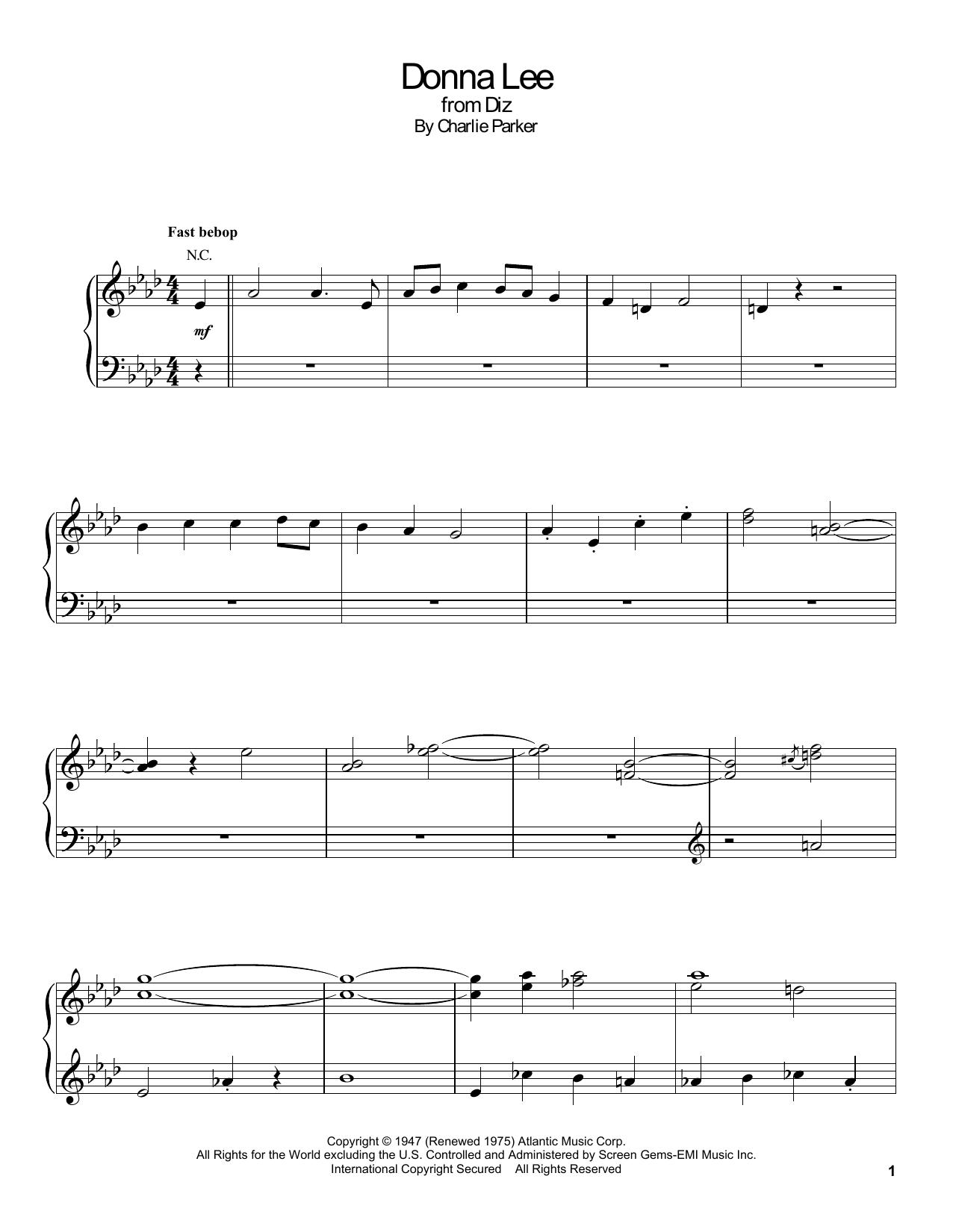 Donna Lee Sheet Music