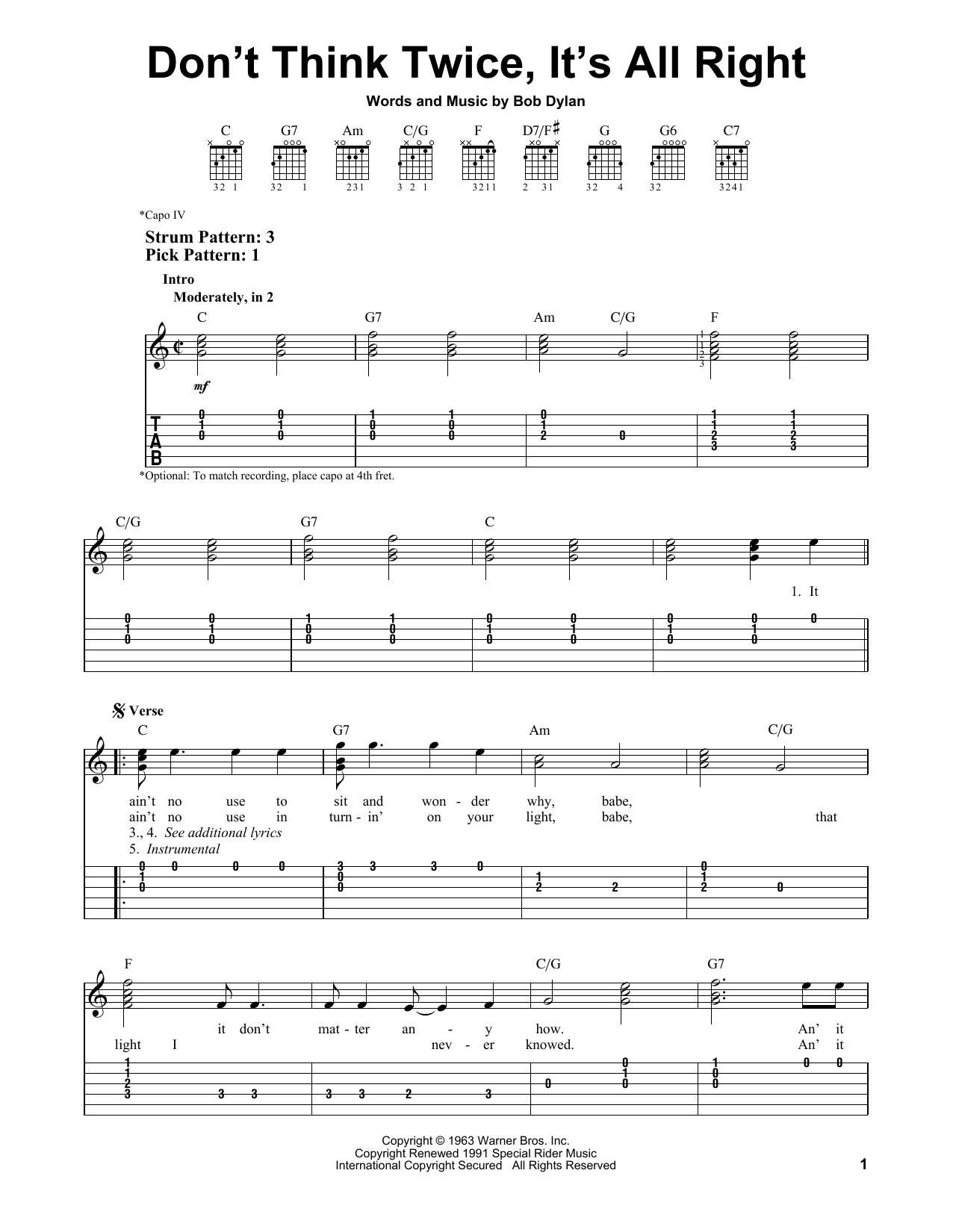 Don't Think Twice, It's All Right sheet music by Bob Dylan ...