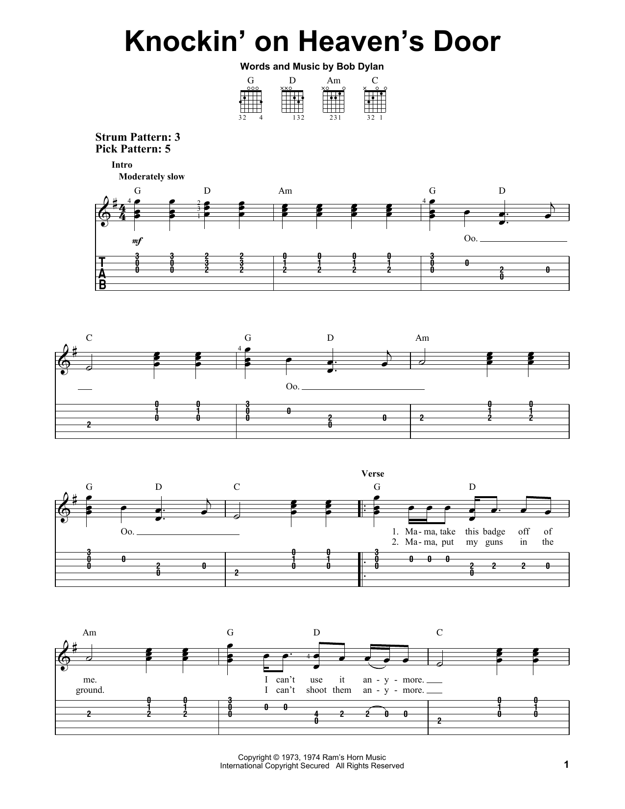 Tablature guitare Knockin' On Heaven's Door de Bob Dylan - Tablature guitare facile