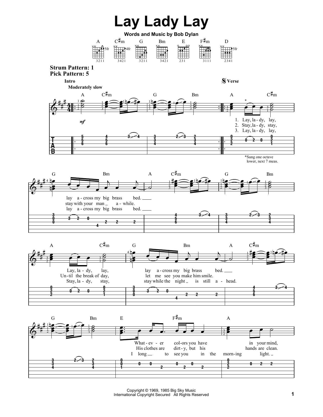 Lay Lady Lay Sheet Music