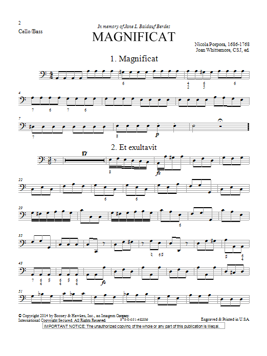 Magnificat in A Minor - Cello Sheet Music