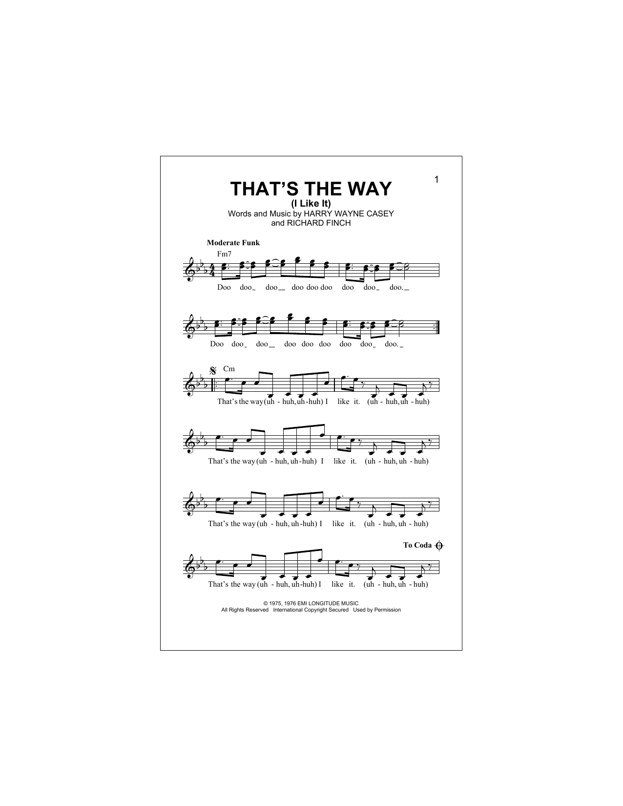 That's The Way (I Like It) (Lead Sheet / Fake Book)