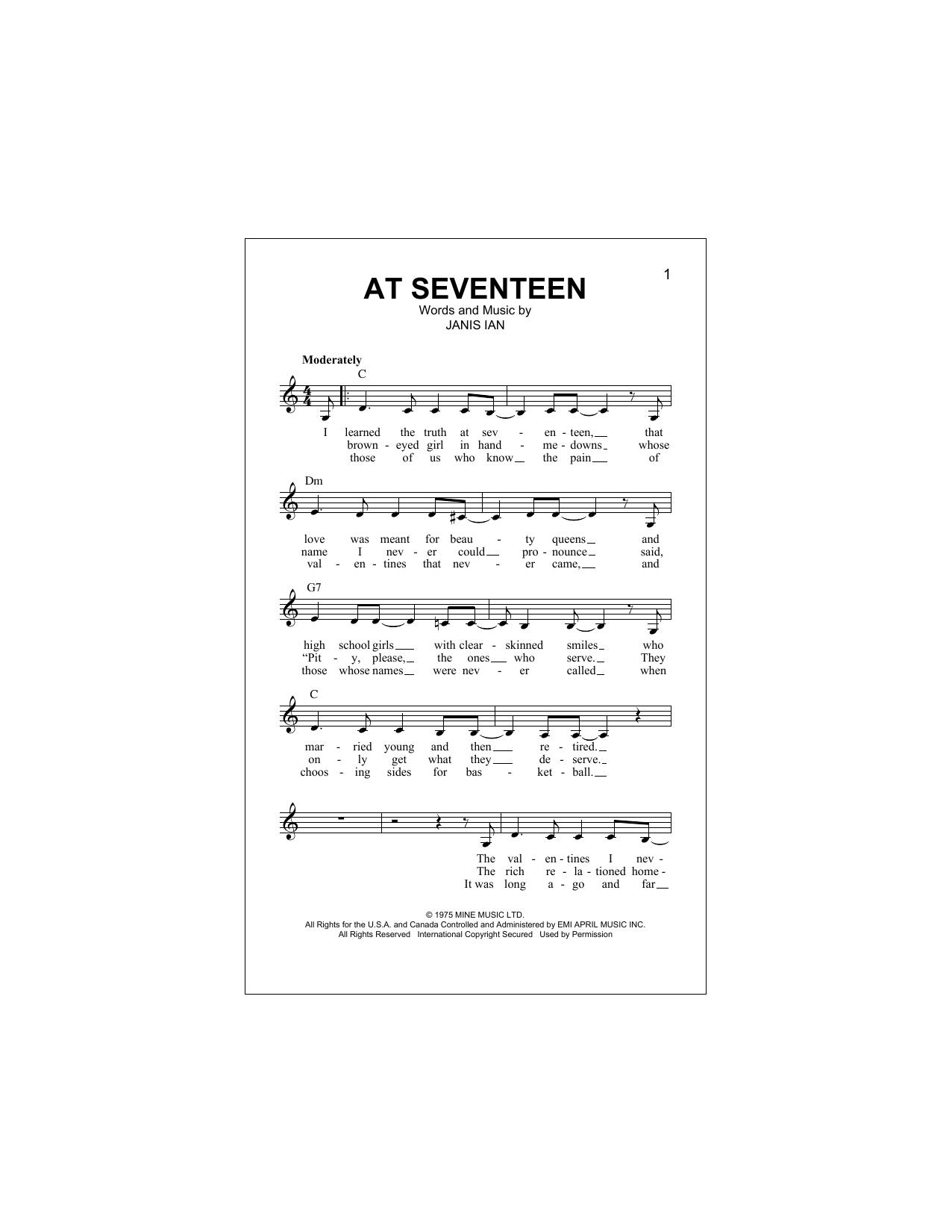At Seventeen (Lead Sheet / Fake Book)
