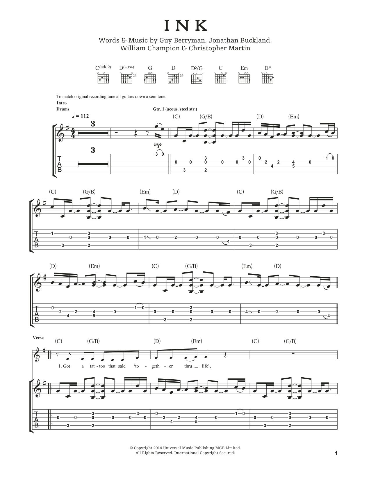 Tablature guitare Ink de Coldplay - Tablature Guitare