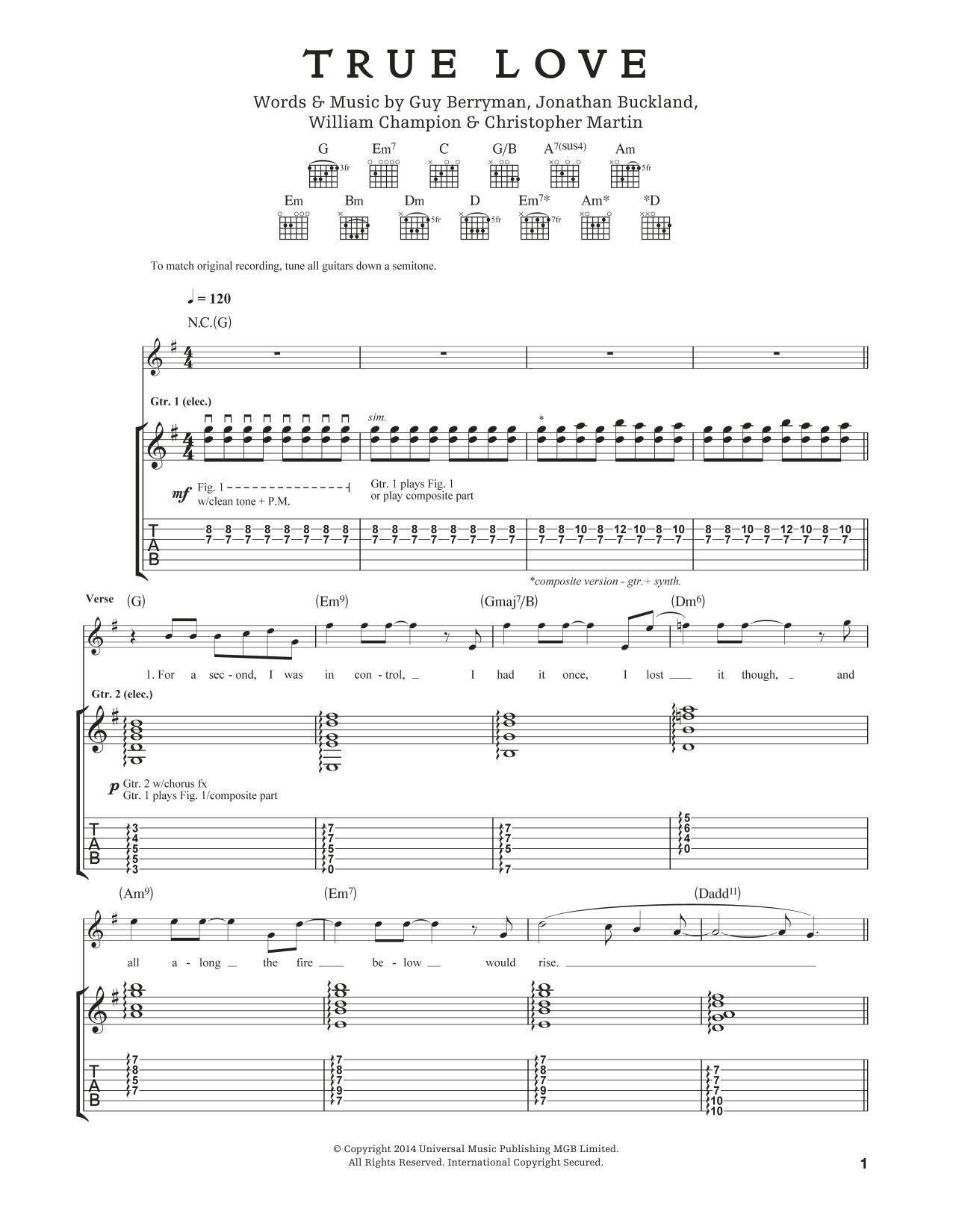 Tablature guitare True Love de Coldplay - Tablature Guitare