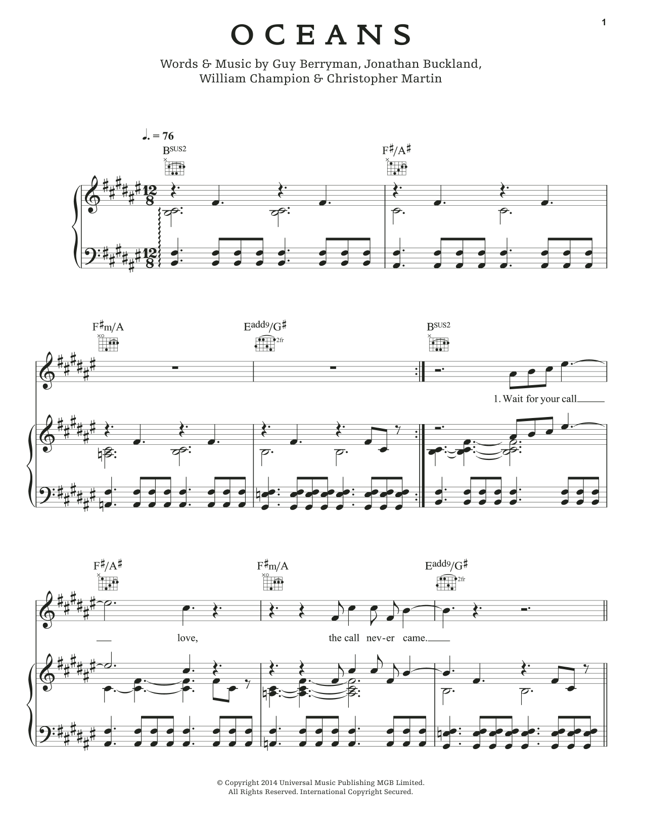 Oceans Sheet Music