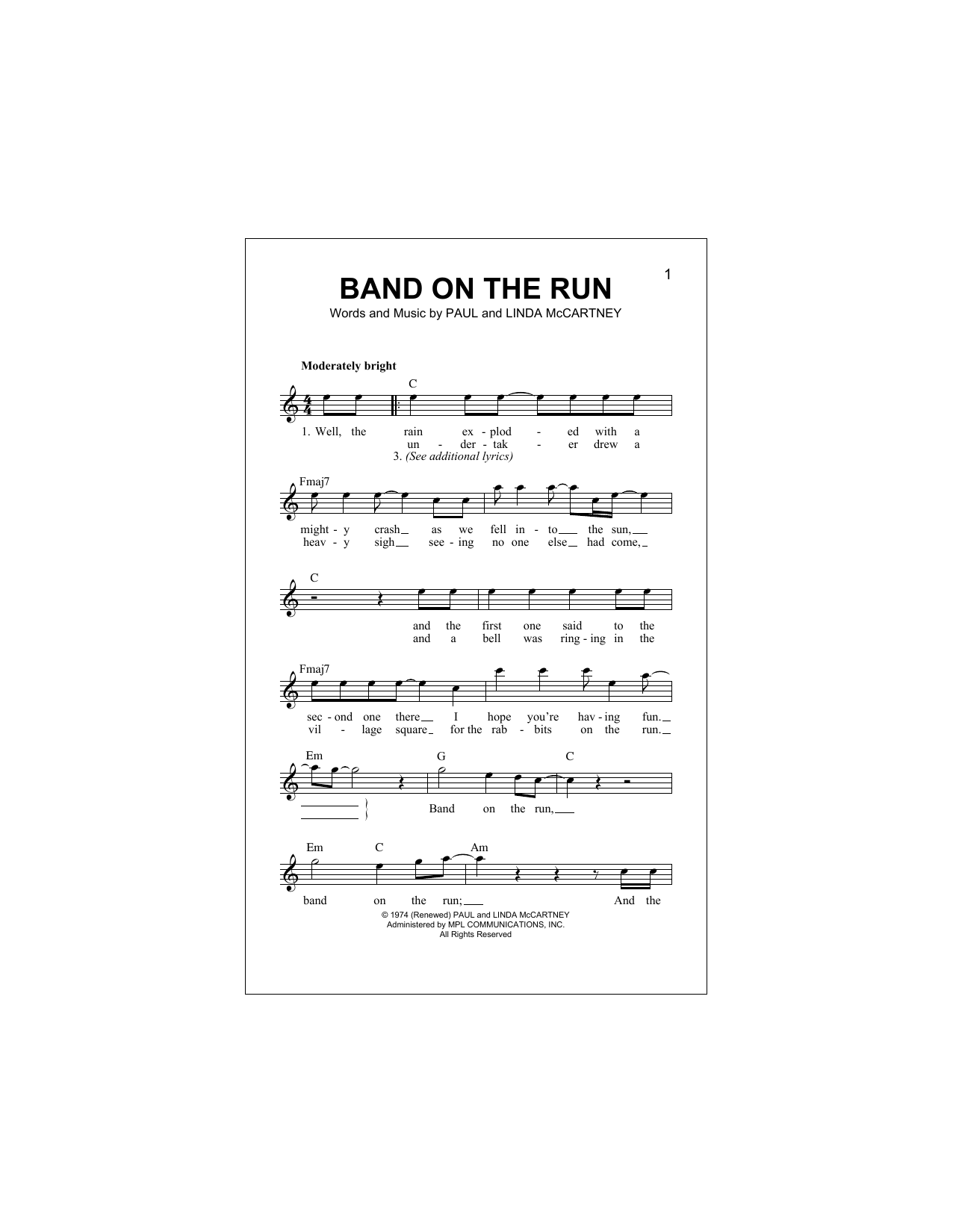 Band On The Run (Lead Sheet / Fake Book)