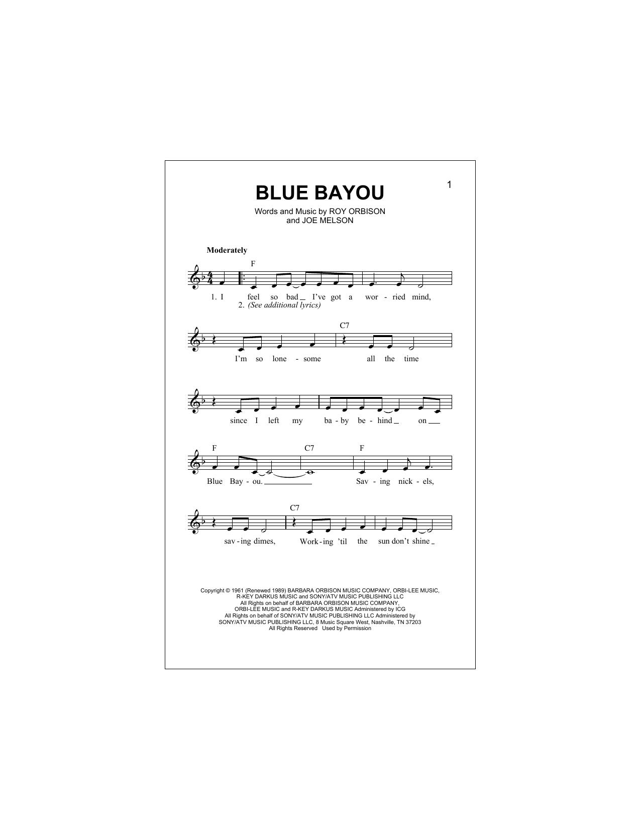 Blue Bayou (Lead Sheet / Fake Book)