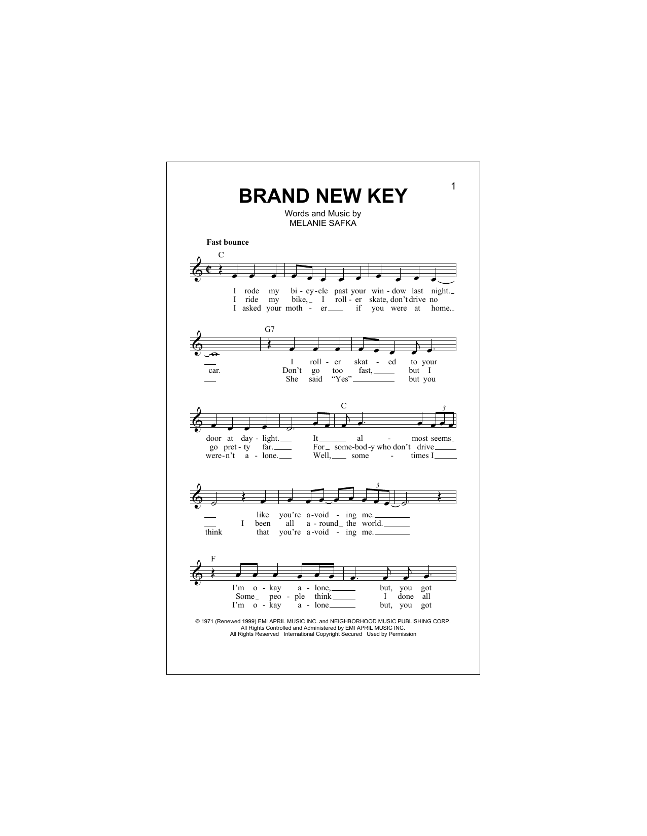 Brand New Key (Lead Sheet / Fake Book)