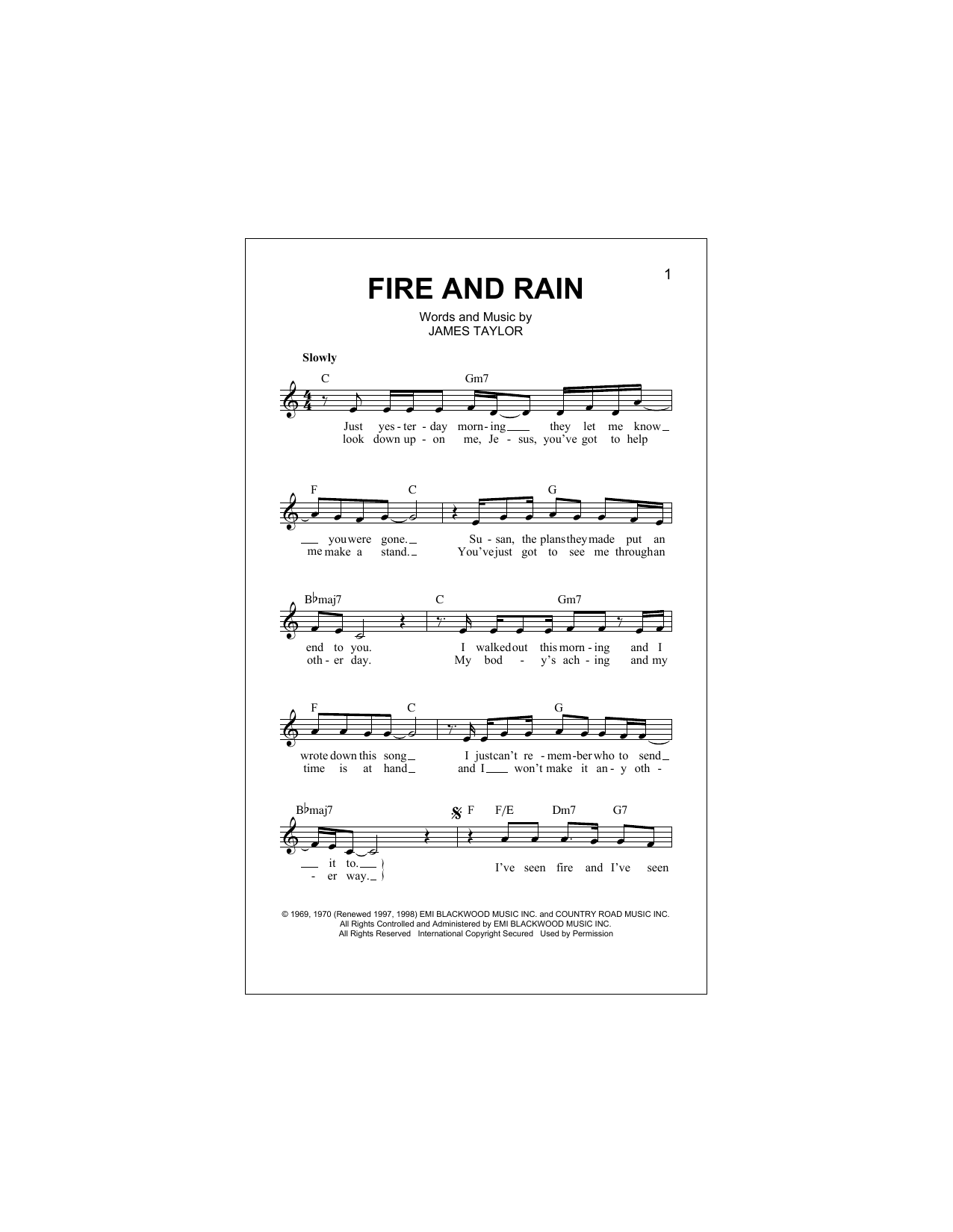 Fire And Rain (Lead Sheet / Fake Book)