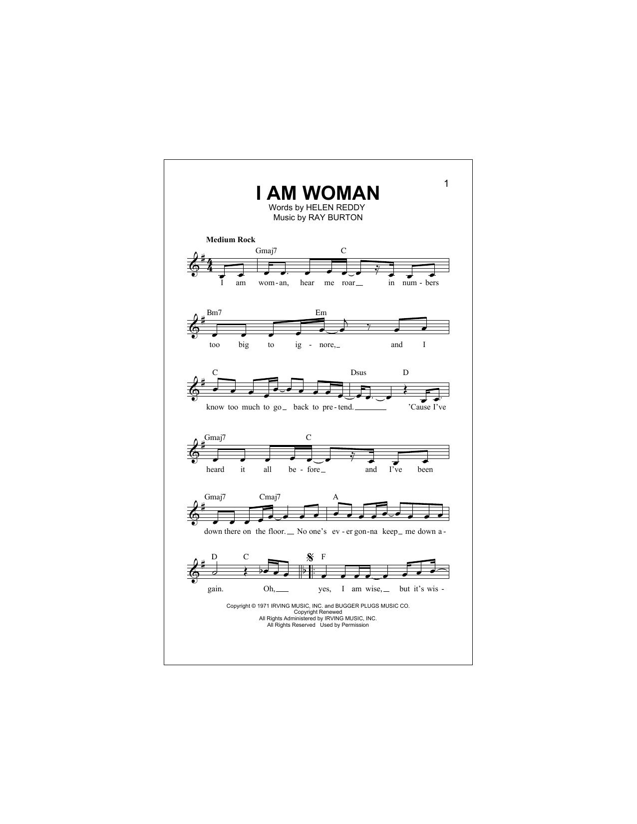 I Am Woman Sheet Music