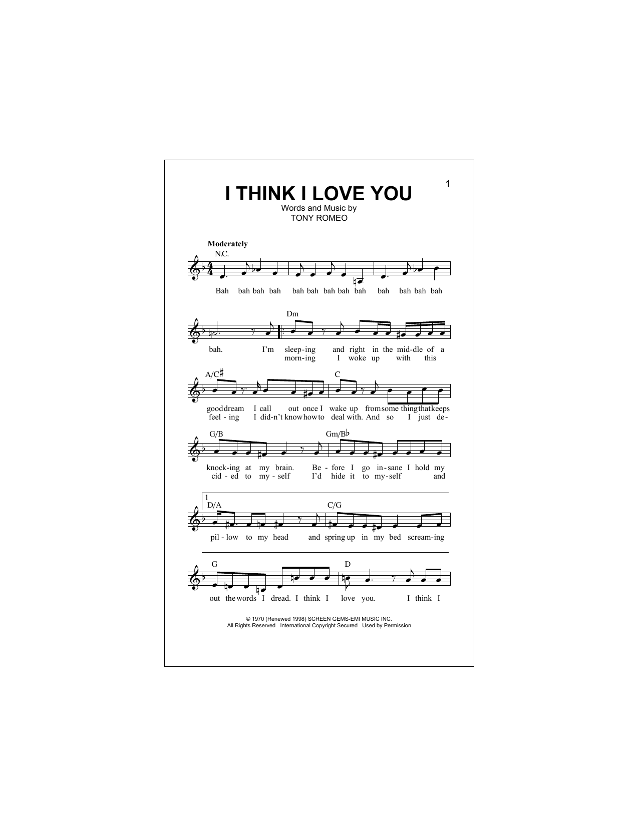 I Think I Love You Sheet Music