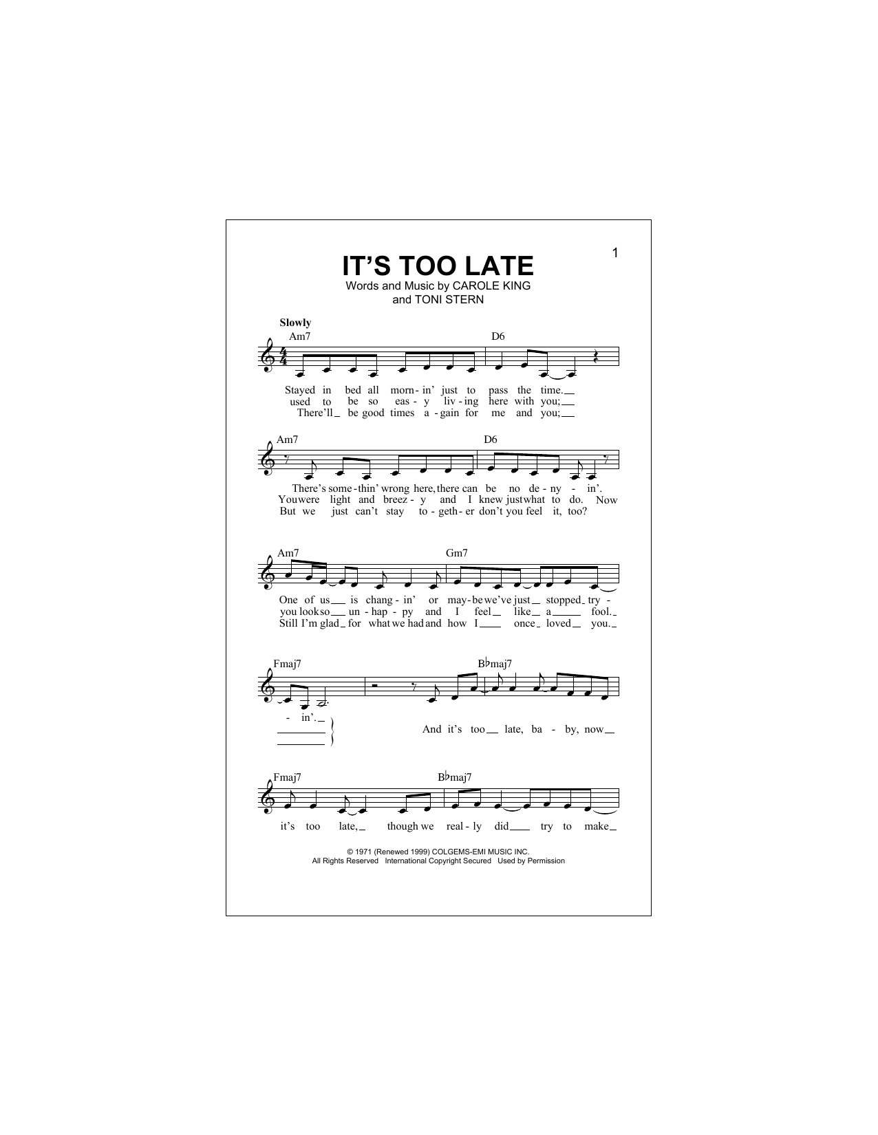 It's Too Late (Lead Sheet / Fake Book)