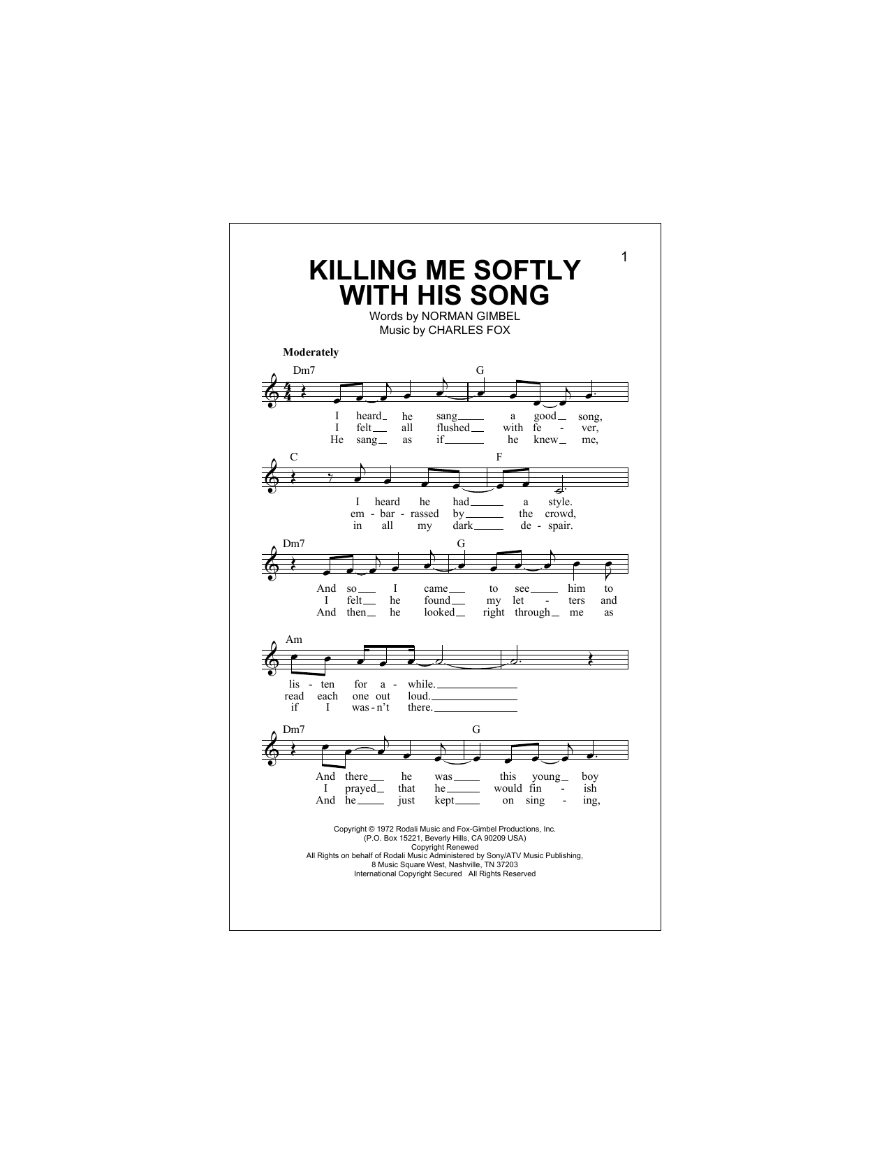 Killing Me Softly With His Song Sheet Music