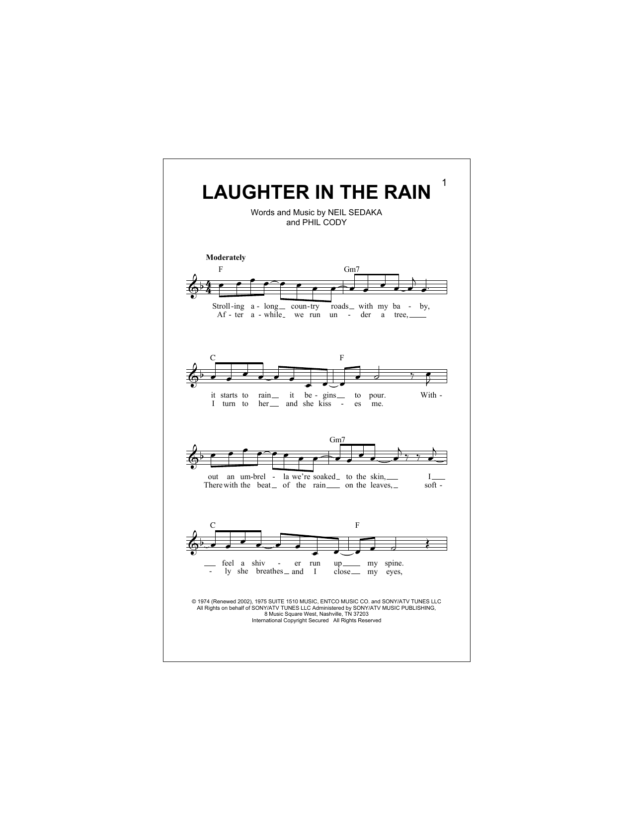 Laughter In The Rain Sheet Music