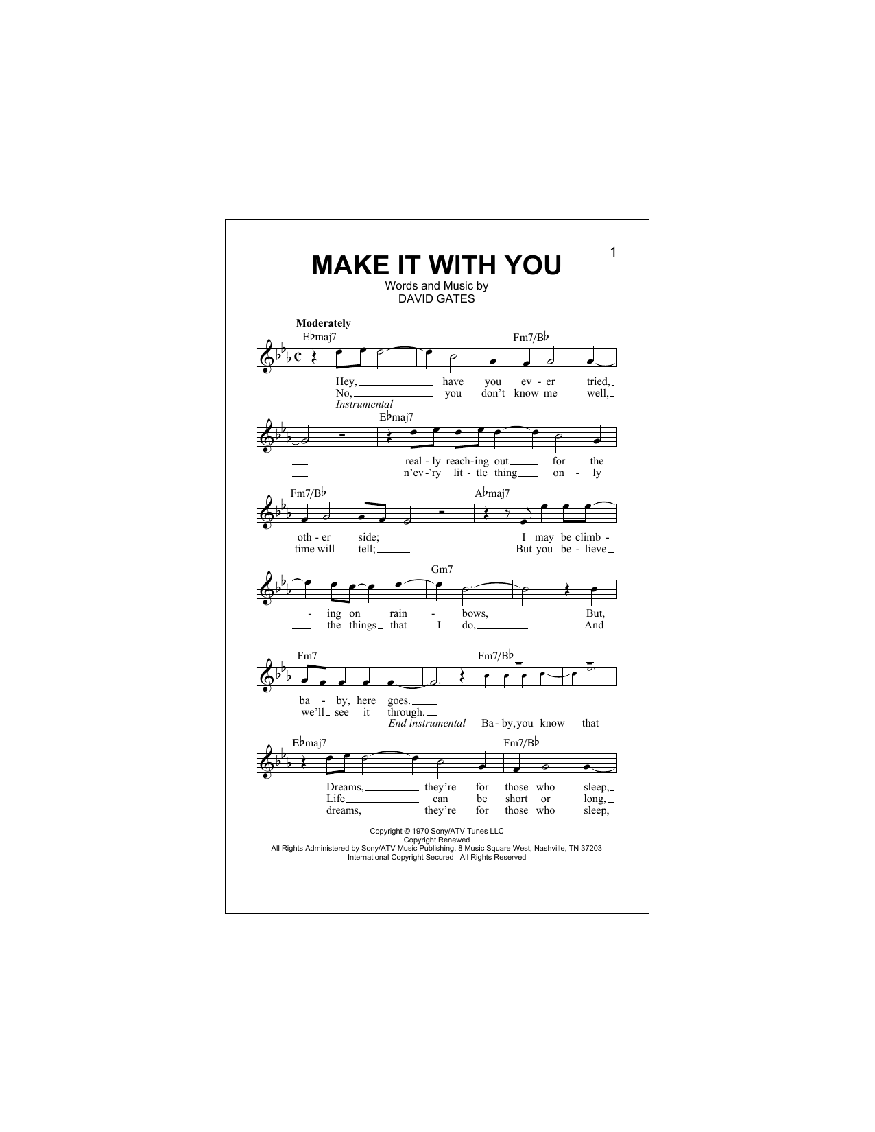 Make It With You Sheet Music