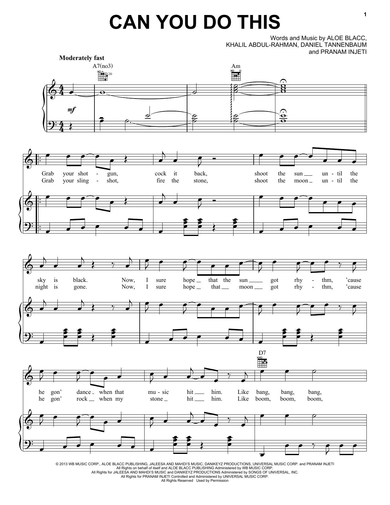 Partition piano Can You Do This de Aloe Blacc - Piano Voix Guitare (Mélodie Main Droite)
