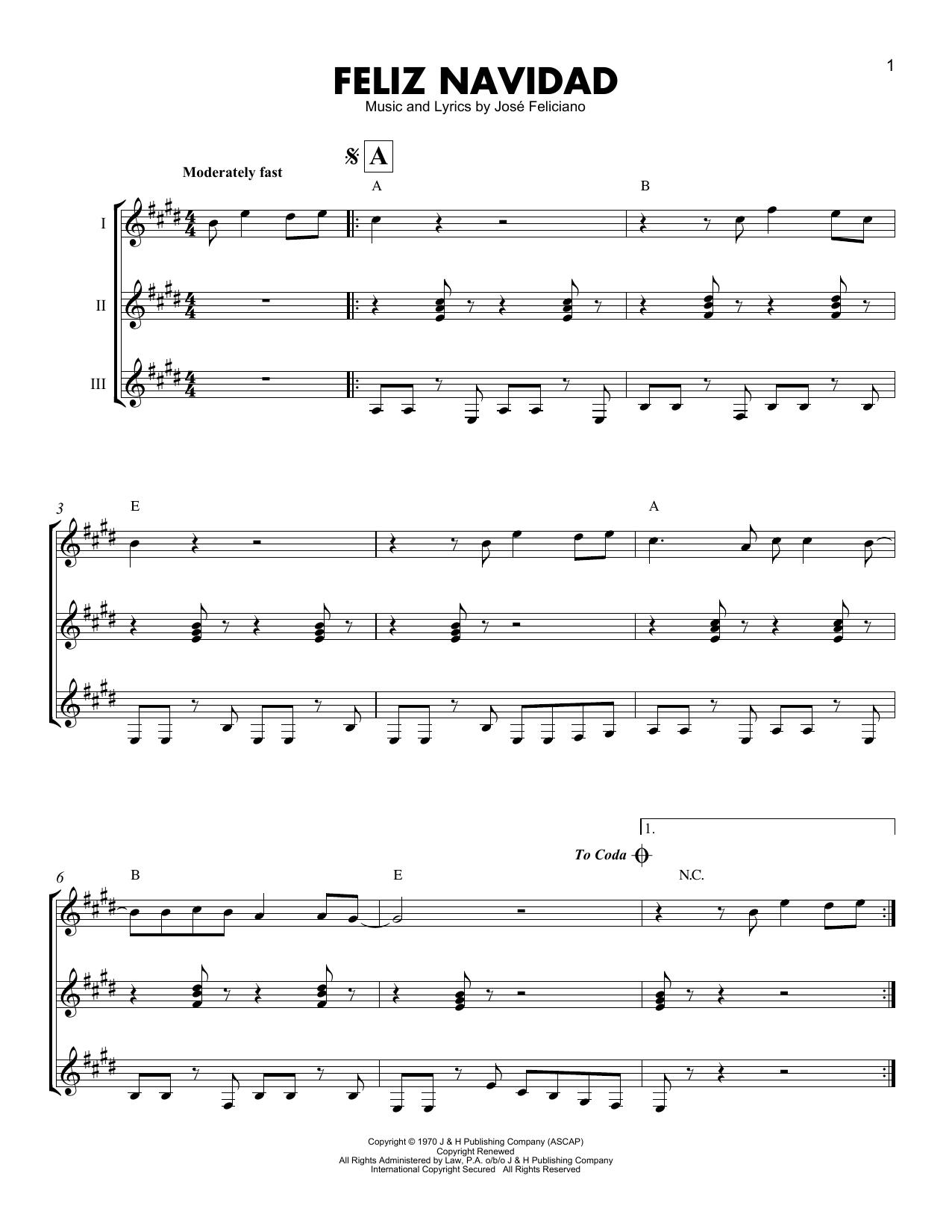 Feliz Navidad Sheet Music By Jose Feliciano Guitar Ensemble 199868