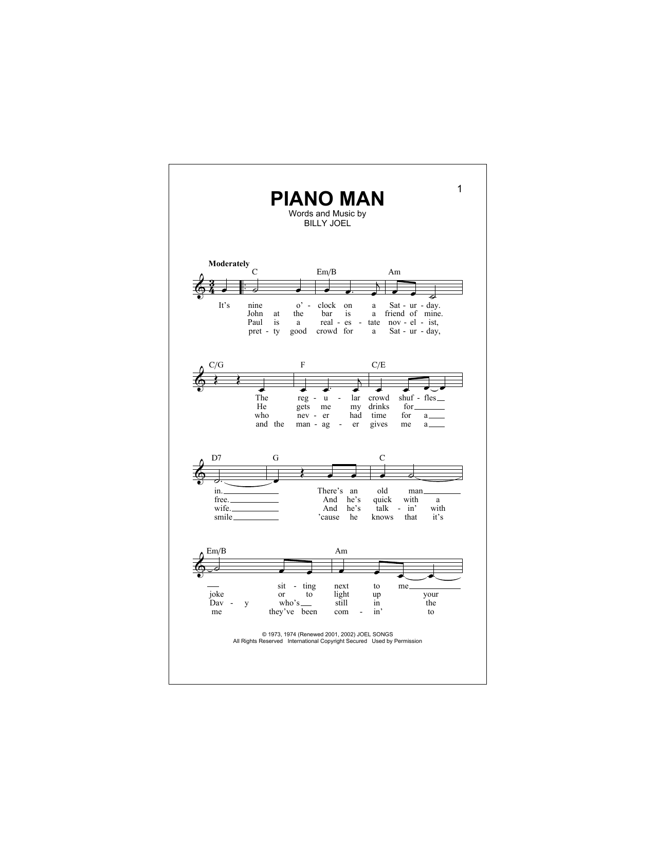 Piano Man (Lead Sheet / Fake Book)