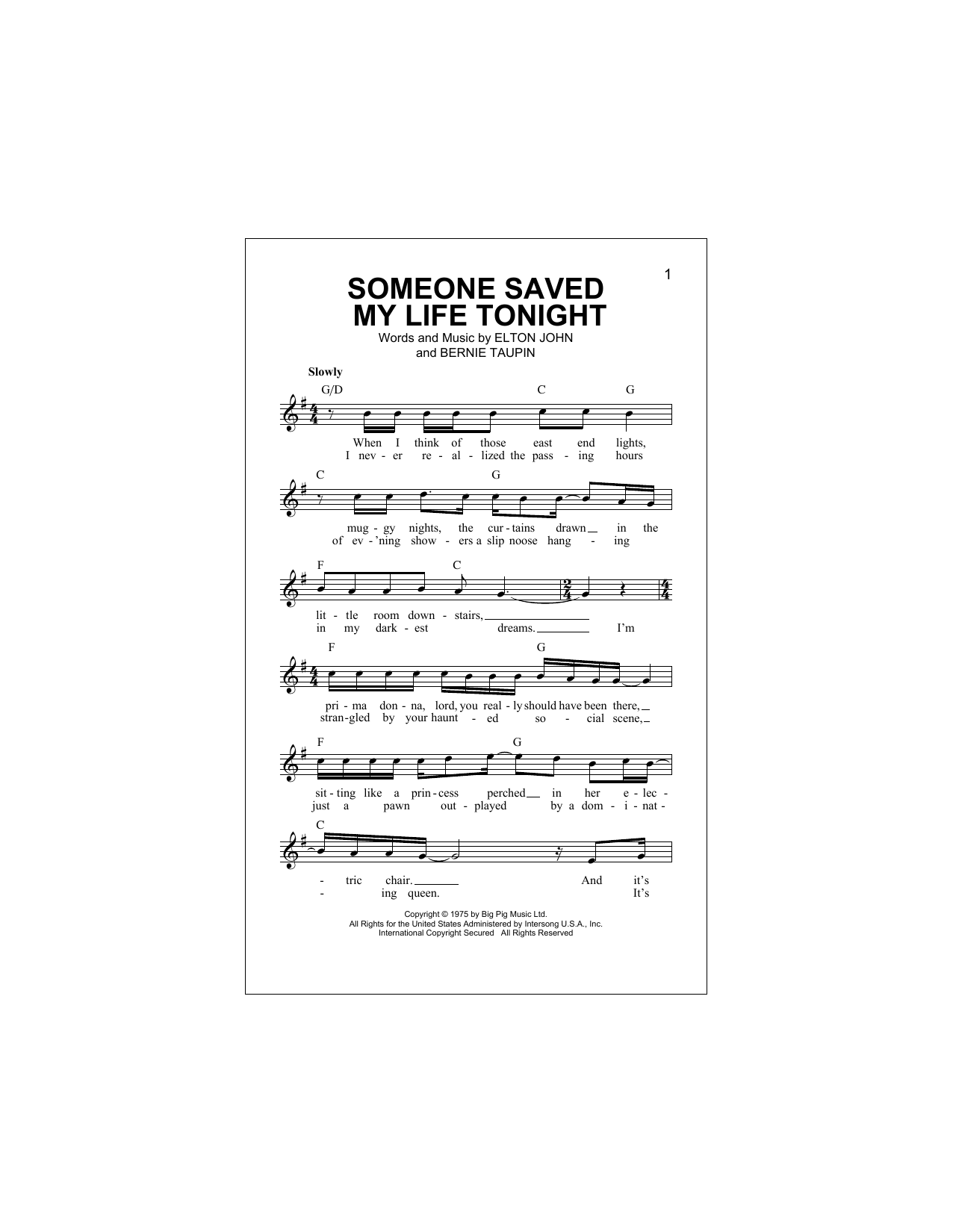 Someone Saved My Life Tonight Sheet Music