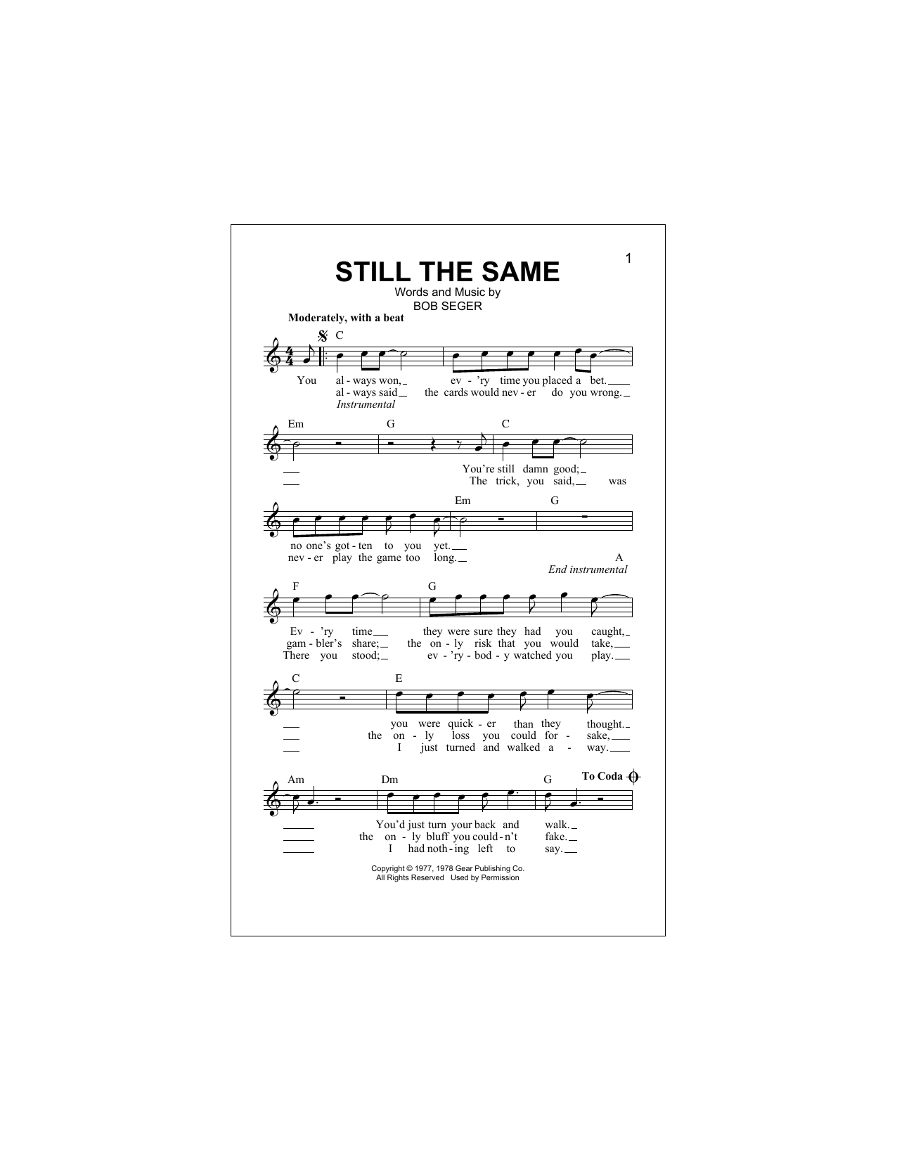 Still The Same (Lead Sheet / Fake Book)