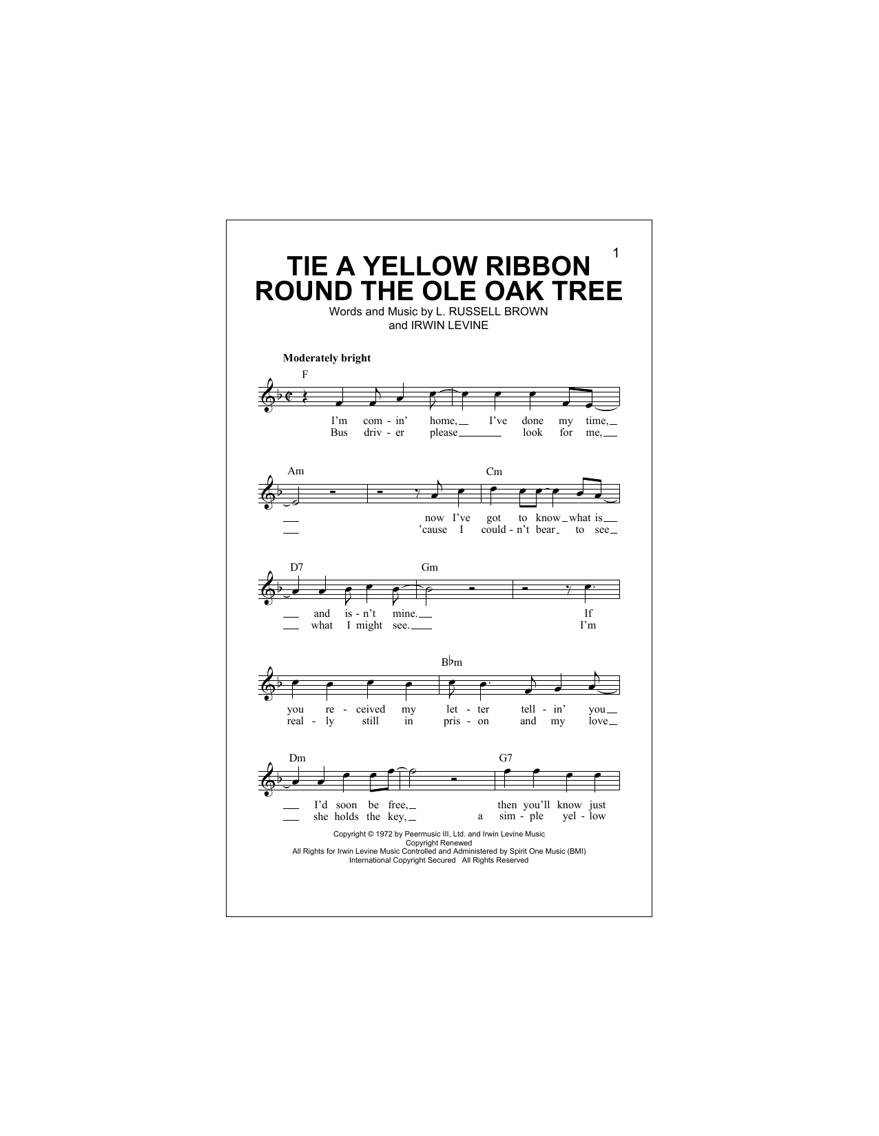 Tie A Yellow Ribbon 'Round The Old Oak Tree Sheet Music
