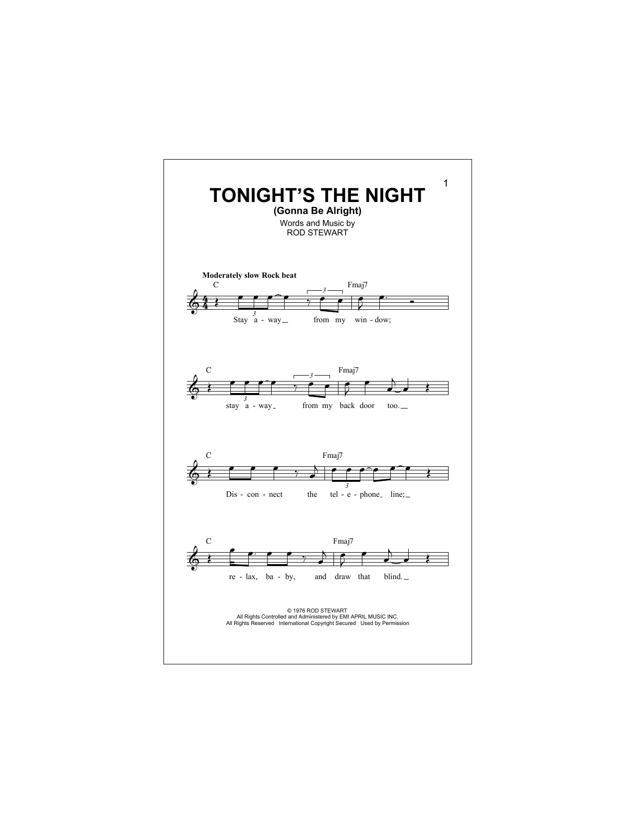Tonight's The Night (Gonna Be Alright) Sheet Music